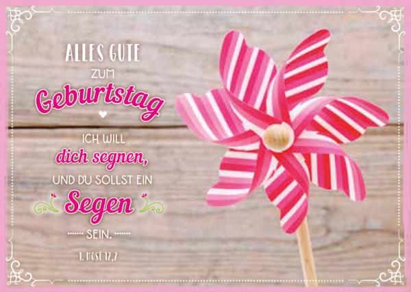 "Postkarte ""Windrad gestreift - Geburtstag"""