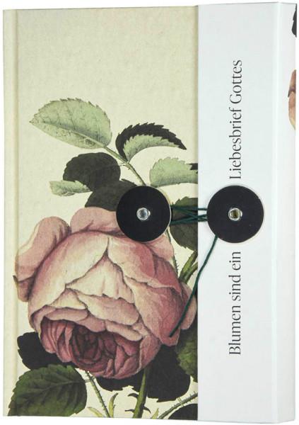"""Notizbuch mit Knopf """"Blumen sind ein Liebesbrief Gottes"""""""