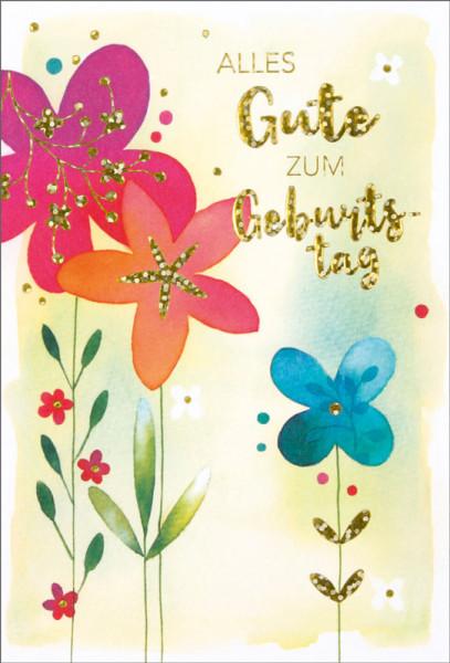 "Faltkarte ""Glitter Blumen Aquarell"""