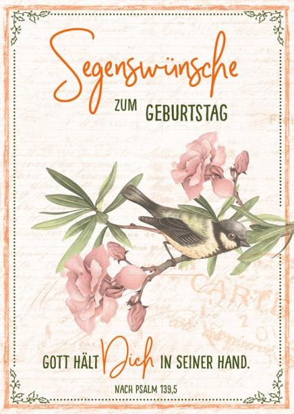 """Postkarte """"Segenwünsche / Vogel"""""""