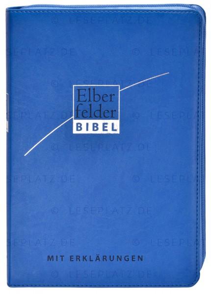 Elberfelder Bibel 2006 mit Erklärungen Kunstleder blau, mit Reißverschluss