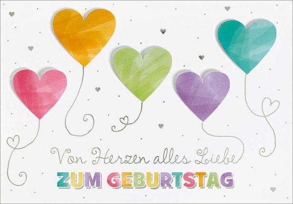 """Doppelkarte """"von Herzen/ Luftballons"""""""