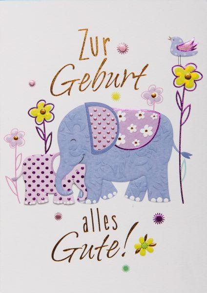 "Faltkarte ""Zur Geburt - Elefant"""