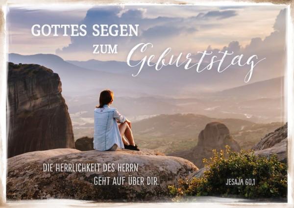 """Faltkarte """"Frau auf Fels"""" - Geburtstag"""