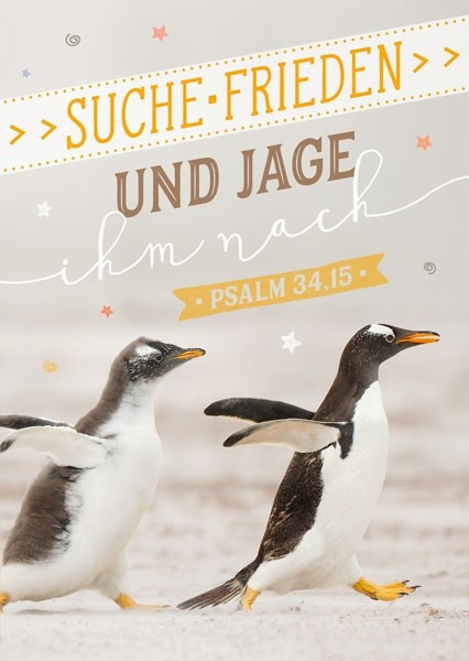 """Postkarte """"Jahreslosung 2019 (Pinguine)"""""""