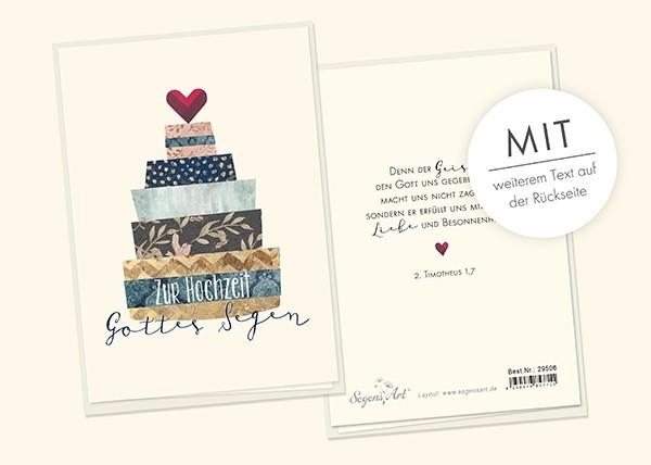 """Faltkarte """"Zur Hochzeit Gottes Segen"""""""