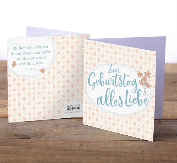 """Faltkarte """"Zum Geburtstag alles Liebe"""""""