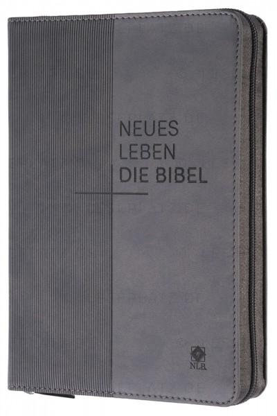 Neues Leben. Die Bibel - Standardausgabe - ital.Kunstleder grau, mit Reißverschluss