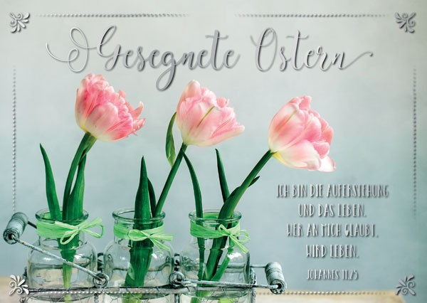 "Postkarte ""Gesegnete Ostern"" Tulpen"