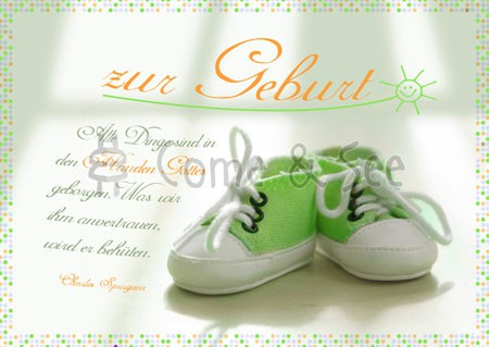 Postkarte - Zur Geburt - Schuhe