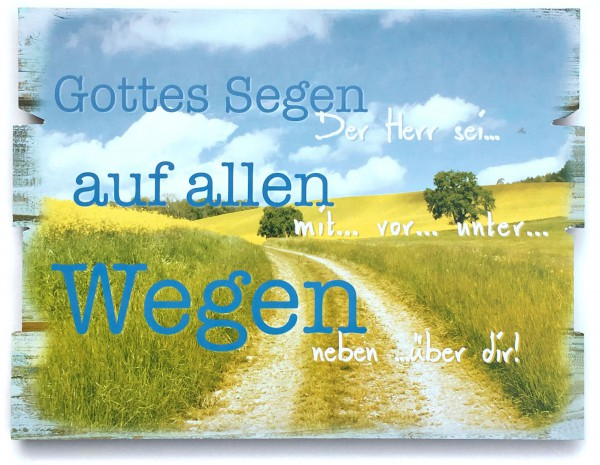"""Holz-Wandbild """"Gottes Segen auf allen Wegen"""""""