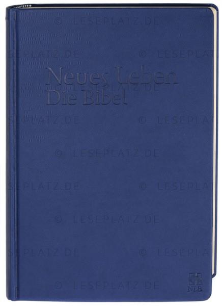 Neues Leben. Die Bibel - Schreibrandausgabe ital. Kunstleder blau / Registerstanzung