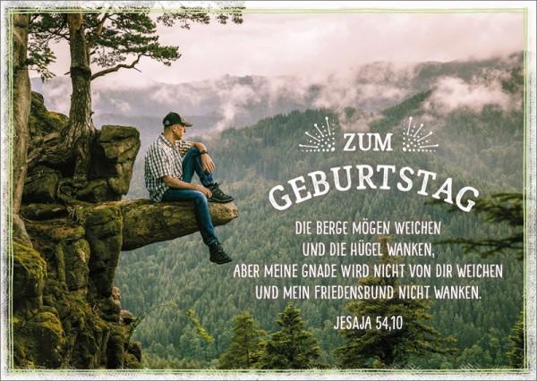 """Postkarte """"Mann auf Fels"""""""