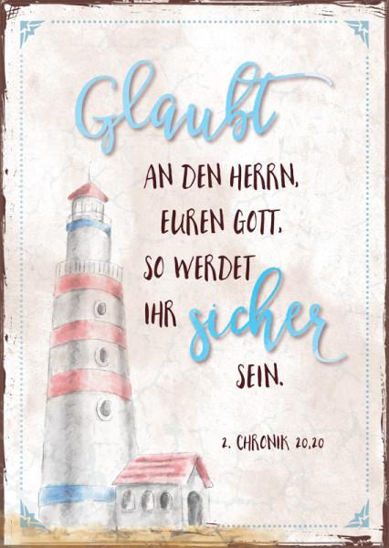 "Postkarte ""Leuchtturm - Glaubt"""