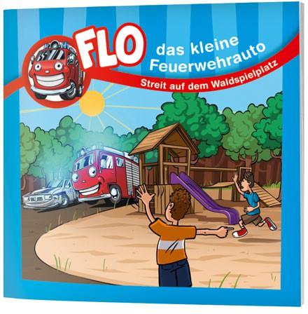 """Flo, das kleine Feuerwehrauto - Mini-Buch """"Streit auf dem Waldspielplatz"""""""