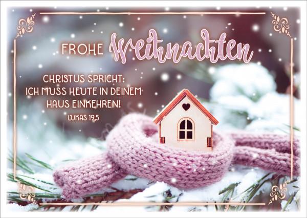 """Postkarte """"Hütte mit Schal"""""""