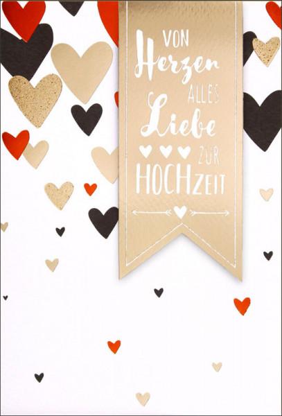 """Faltkarte """"Herzen"""" - Hochzeit"""
