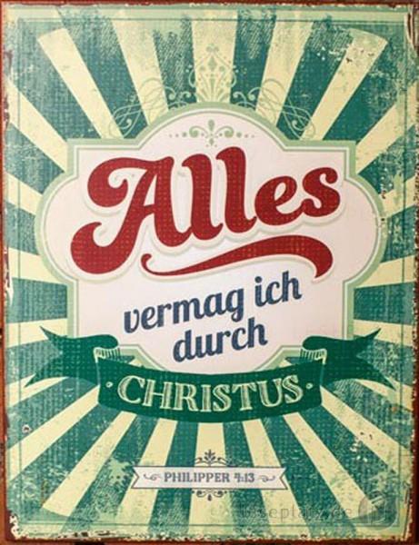 Metallschild ''Alles vermag ich durch Christus''