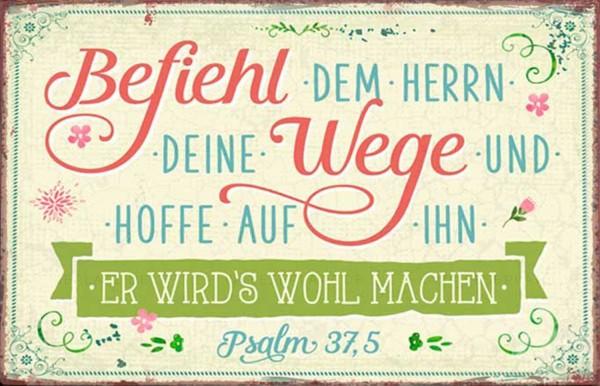 Metallschild ''Befiehl dem Herrn''