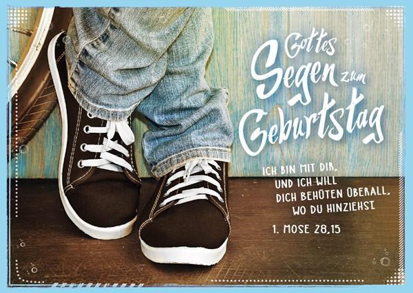 """Postkarte """"Gottes Segen zum Geburtstag - braune Turnschuhe"""""""