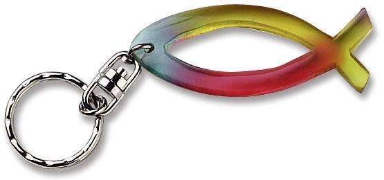 """Schlüsselanhänger """"Fisch"""" Regenbogenfarben"""