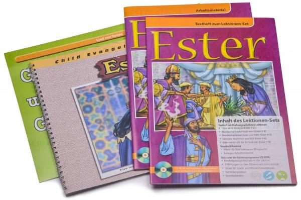 Ester - Lektionen-Set Textheft / Arbeitsmaterial / Ringbuch mit 30 Bildern inkl. CD-ROM mit Text und