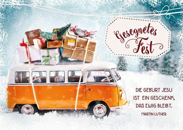 "Postkarte ""Geschenkebus"""