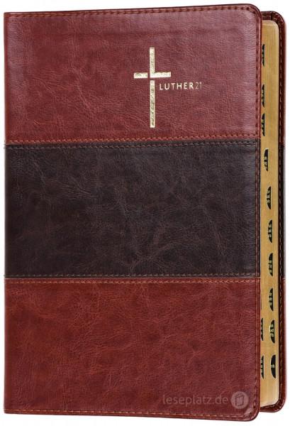 Luther21 - Großdruckausgabe - Kunstleder braun/schwarz/braun