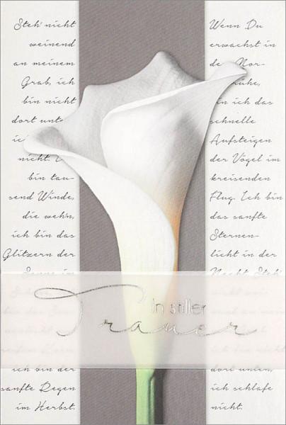 """Faltkarte """"Weiße Calla"""" - Trauer"""