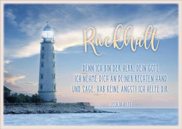 """Postkarte """"Rückhalt / Leuchtturm"""""""
