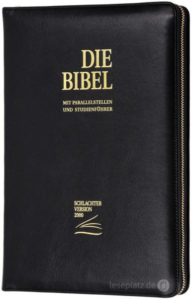 Schlachter 2000 Standardausgabe - Vollrindleder schwarz / Goldschnitt mit Reißverschluss