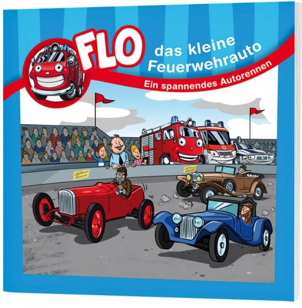 """Flo, das kleine Feuerwehrauto - Mini-Buch """"Ein spannendes Autorennen"""""""