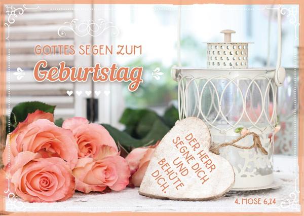 "Postkarte ""Gottes Segen zum Geburtstag - Holzherz"""
