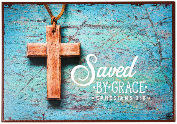 "Metallschild ""Saves by grace"""