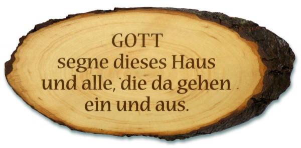 """Baumrindenscheibe """"Gott segne dieses Haus"""""""