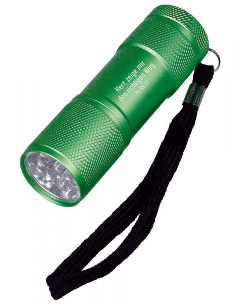 """LED-Taschenlampe """"Herr, zeige mir den richtigen Weg"""" - grün"""