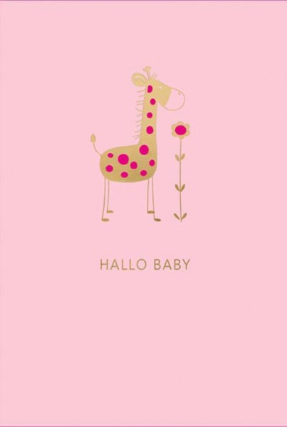 "Faltkarte ""Giraffe - rosa"""