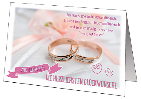"""Faltkarte """"Zur Hochzeit die herzlichsten Glückwünsche"""""""