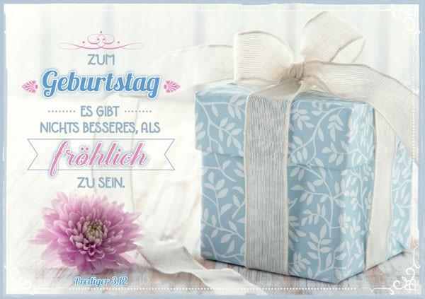 "Faltkarte ""Geschenk hellblau"" - Geburtstag"