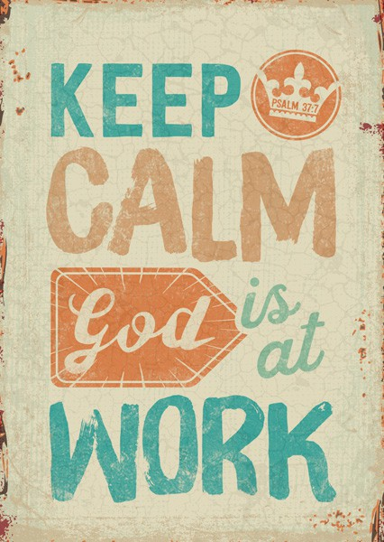 "Postkarte ""God is at work"""