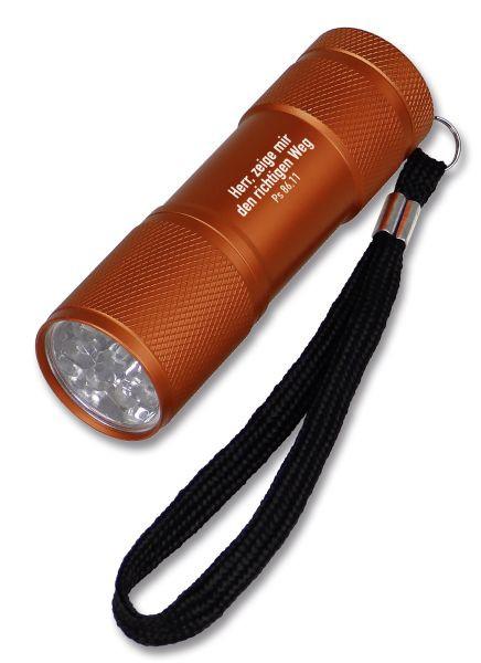 """LED-Taschenlampe """"Herr, zeige mir den richtigen Weg"""" - orange"""