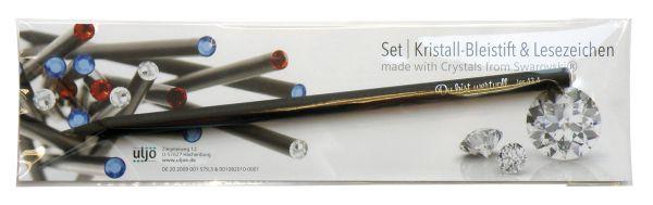 Set: Kristall-Bleistift mit Lesezeichen - transparent
