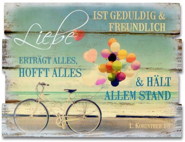 """Holz-Wandbild """"Liebe ist geduldig... 1. Kor. 13"""""""