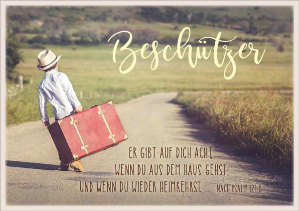 """Postkarte """"Beschützer / Kind mit Koffer"""""""