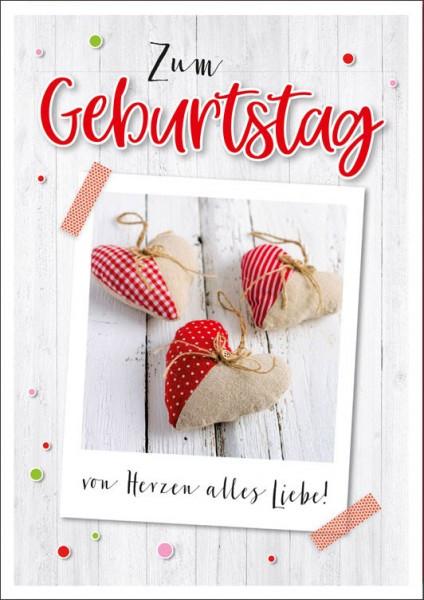"""Faltkarte """"Von Herzen"""" - Geburtstag"""