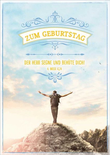 "Postkarte ""Mann auf Berggipfel"""