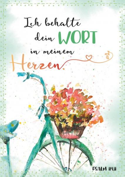 """Postkarte """"Rad mit Blumenkorb"""""""