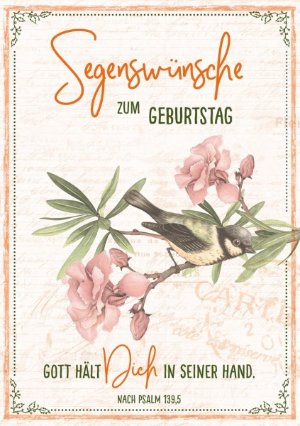 "Faltkarte ""Segenswünsche / Vogel"" - Geburtstag"