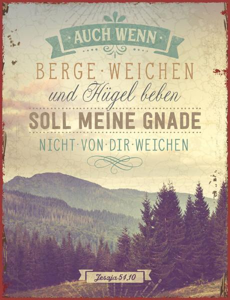 """Metallschild """"Berge und Hügel"""""""