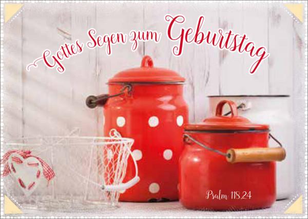 "Postkarte ""Rote Kannen - Geburtstag"""
